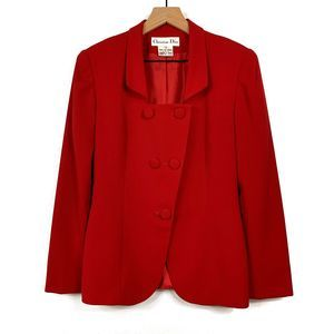 Christian Dior Red Double Breasted Blazer Size 2